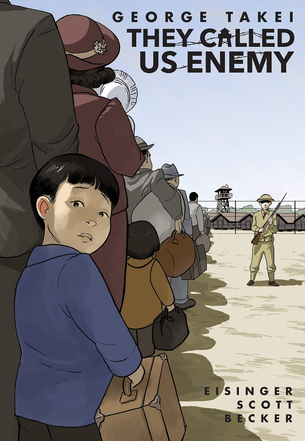A line of Japanese-Americans file into an internment camp while a soldier watches them. A young boy turns to look at the audience.