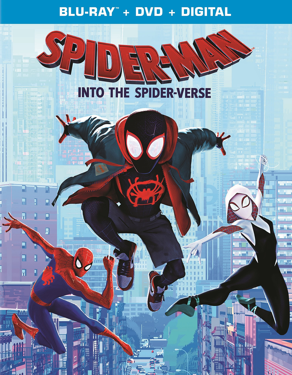 Three superheroes leap through the air against a backdrop of New York City. In the center is Miles Morales's Spider-Man who wears a jean jacket over a red hoodie, a t-shirt with a spray painted spider symbol on it, shorts and sneakers. A black and red mask covers his face. On the left is Peter Parker's Spider-Man in the traditional blue and red costume. On the right is Spider-Gwen. She wears a black, white, and pink uniform that resembles a dancer's outfit with an added hood. Her mask is white and black. She also wears ballet shoes.