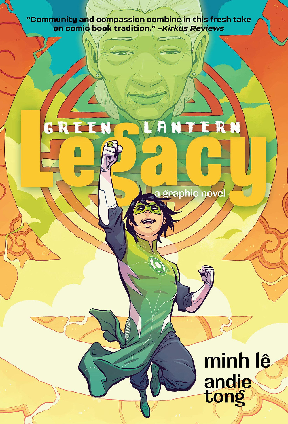A twelve-year old boy leaps in the air with his hand above his head. He wears a Green Lantern super hero costume. A elderly woman's face hovers in the air above him. The Green Lantern symbol hovers behind them.