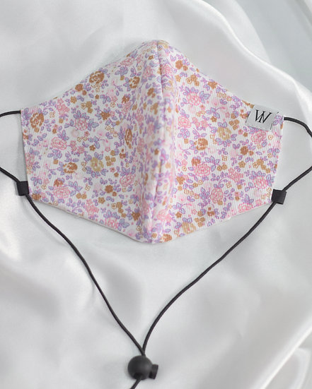 Pink Flowers - Adjustable Face Mask