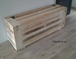 Palette co coffres bancs et tabourets for Meuble 80x80x40