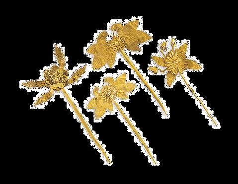 FOUR CUT-GOLD HAIR PINS