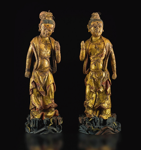 A PAIR OF GILT-LACQUERED STUCCO FIGURES OF BODHISATTVA