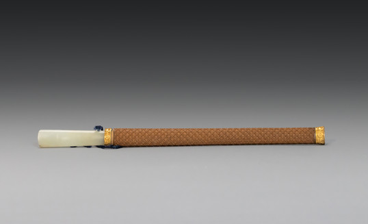 A Boxwood and Gilt-metal scabbard with jade-handled knife, 18th century