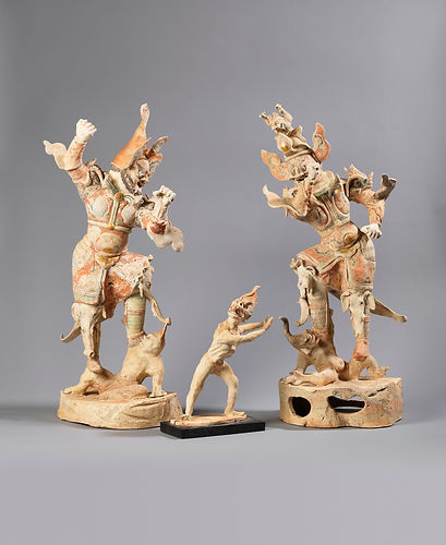 Rare Pair of Painted Pottery Figures of Lokapalas and Demon