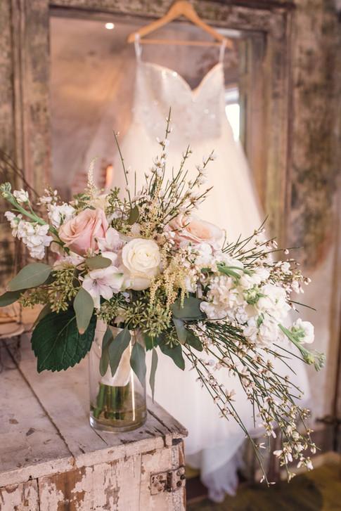 Bridal Bouquet and Wedding Dress