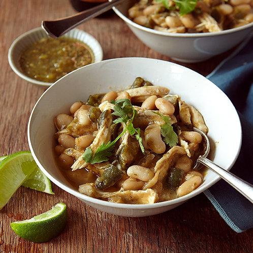 FS, Serves 4-6  White Chicken Chili with Salsa Verde,  Mixed Salad & Corn Bread