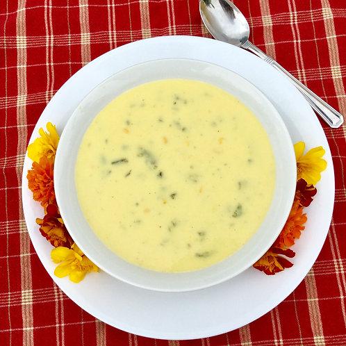 Creamy Corn & Poblano Soup