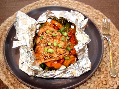 Teriyaki Grilled Salmon & Veggies in a Foil Pack