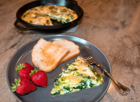 Summer Frittata with Kale & Garlic Scapes