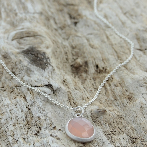 Teardrop - Necklace silver/ rose chalcedony