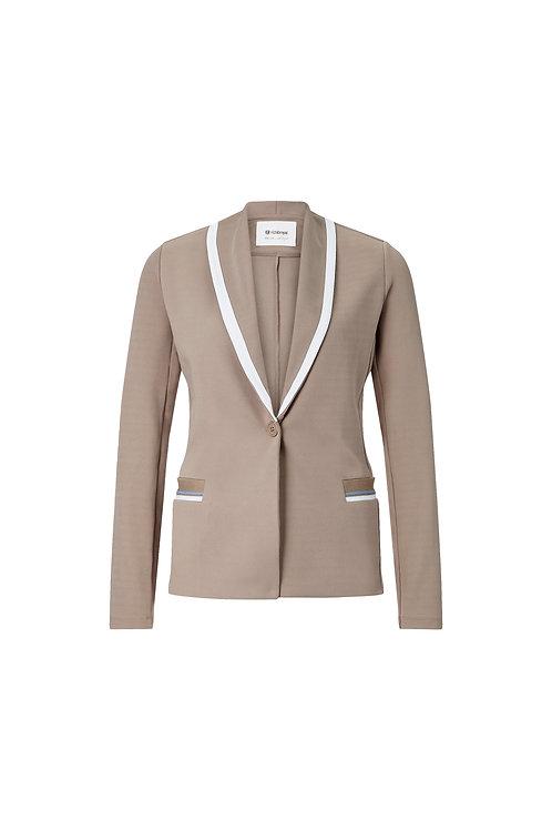 Rich & Royal - Blazer Jersey mit Kontrasten - Taupe
