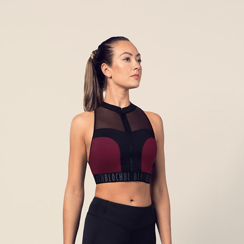 Bloch Ladies Zip Front Mesh Back Crop Top (Dewberry)
