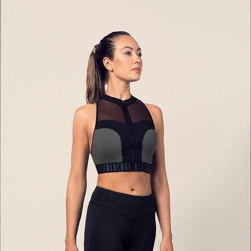 Bloch Ladies Zip Front Mesh Back Crop Top (Black)