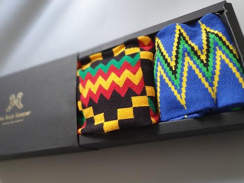 Twin Pack Patterned Gift Box - Kente Socks Pack