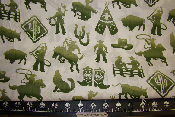 Cowboy Rodeo Icons Green