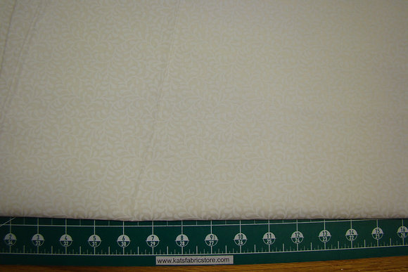 """108"""" Plume Bloom White on Natural Quilt Backing"""