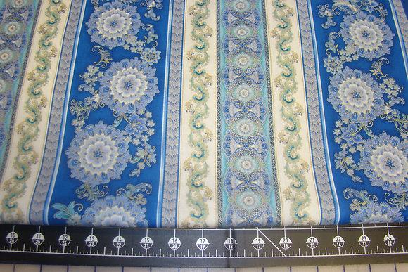 Blue Floral Stripe