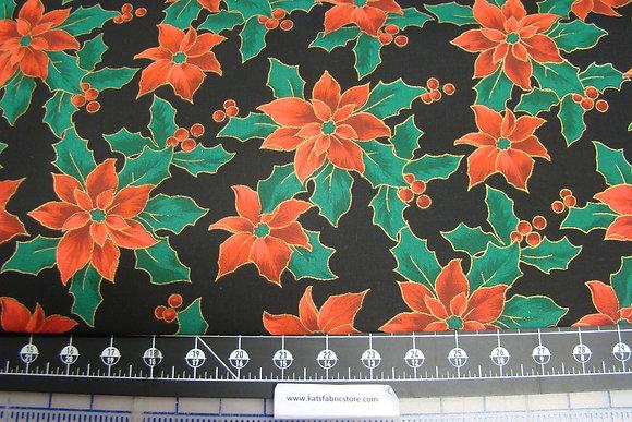 Christmas Poinsettia Metallic Black