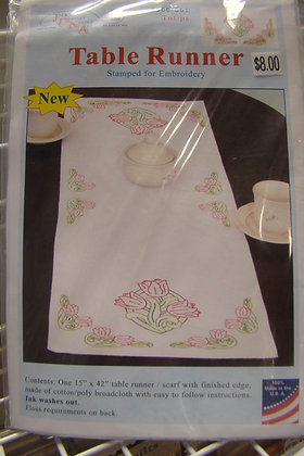 JDNA Tulips Table Runner- Stamped for Embroidery