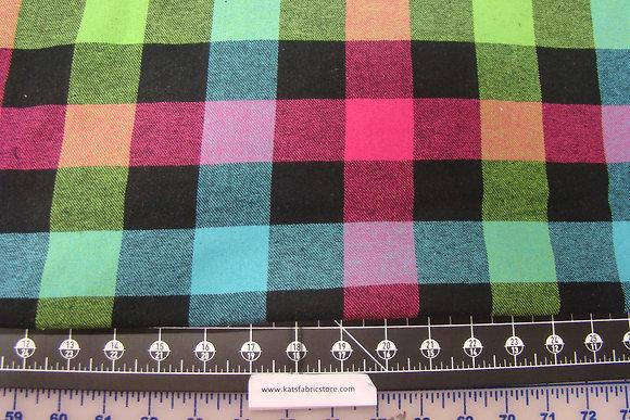 Flannel 1-1/2 in Check Multi Color