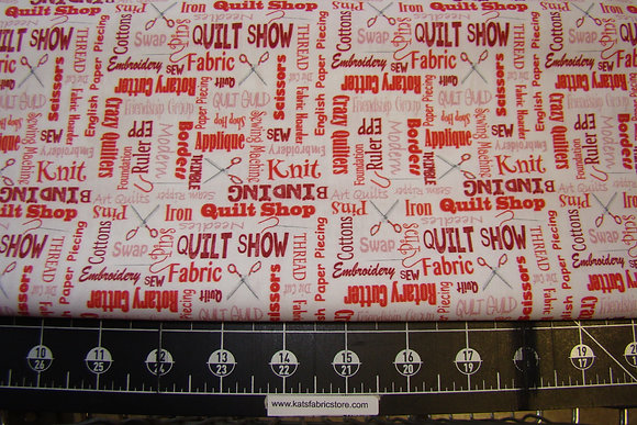 QT It's a Ship Hop Quilter's Lingo Red