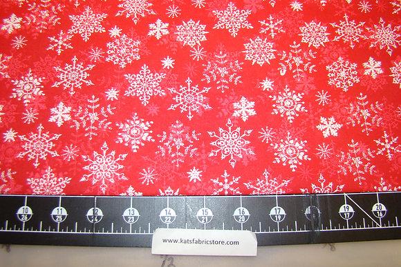 HLDY Snowflakes White on Red