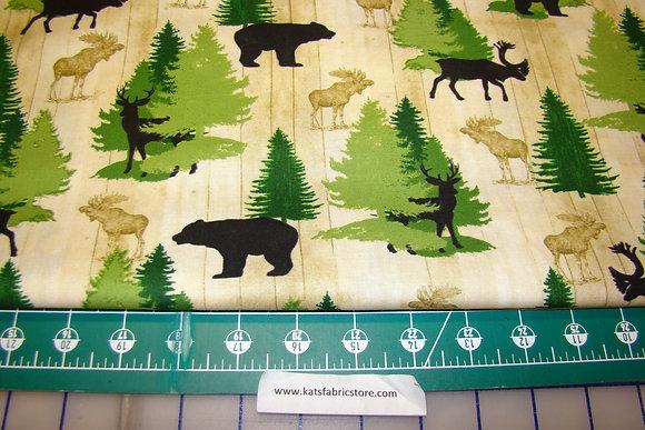 QT Moose Trail Lodge Animals and Pines Cream
