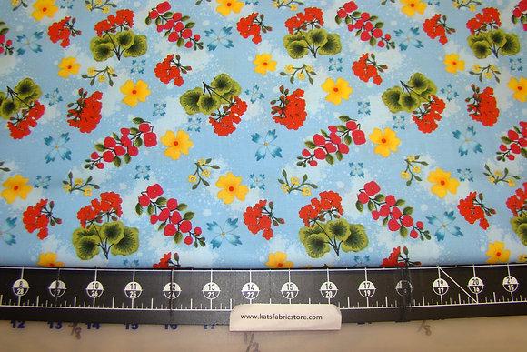 RJR Garden Frolic Floral on Blue