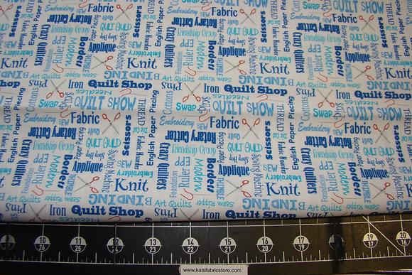 QT It's a Ship Hop Quilter's Lingo Blue