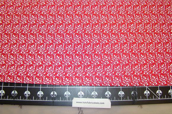 Fabric Arts Swirls White on Red
