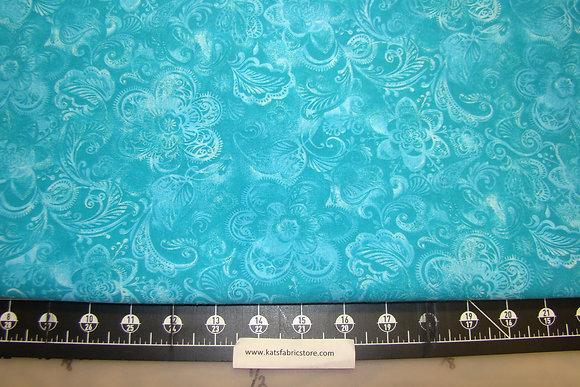 108in Batik Floral Lt Turquoise
