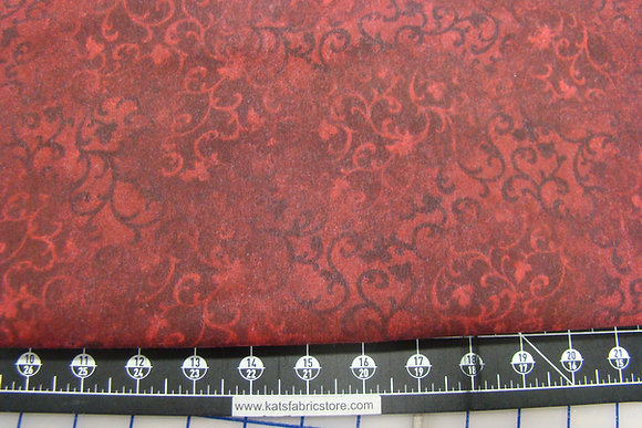 "108"" Flannel South Sea Scroll Red"
