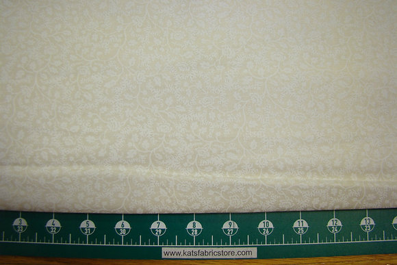 "108"" Vintage Vine White on Natural Quilt Backing"