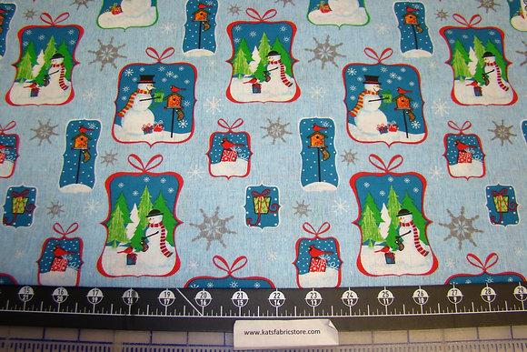 Christmas Snowman Tags Blue