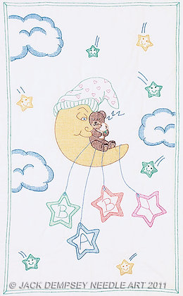 JDNA Stamped Crib Quilt Top Cross Stitch and Embroidery- Bear on the Moon
