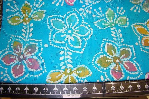 Quilter's Batik 353 Multi Floral Turquoise
