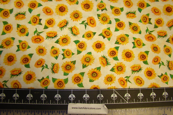 QT Always Face The Sunshine Tossed Sunflowers Cream