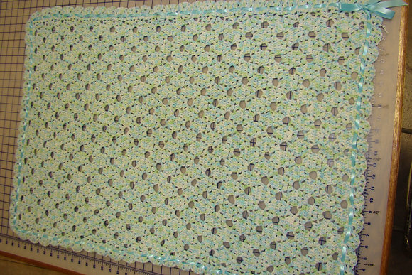 Keepsake Crocheted Blue Green Baby Blanket
