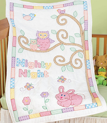 JDNA Stamped Crib Quilt Top Cross Stitch and Embroidery- Owl & Friends