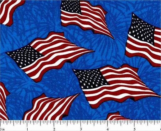 Patriotic Flags on Blue