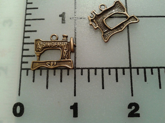 Singer Sewing Machine Charms Set of 2 Bronze
