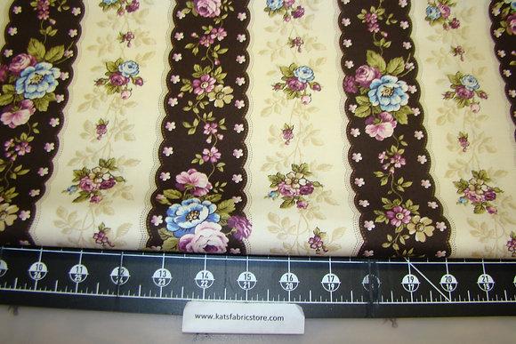 AD Hat Box Flower Stripe Brown
