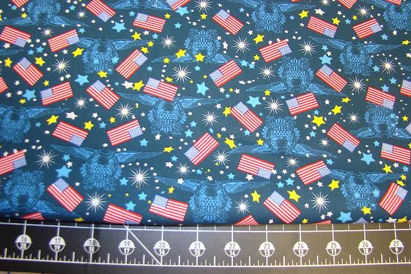 Patriotic Fireworks Flag Blue