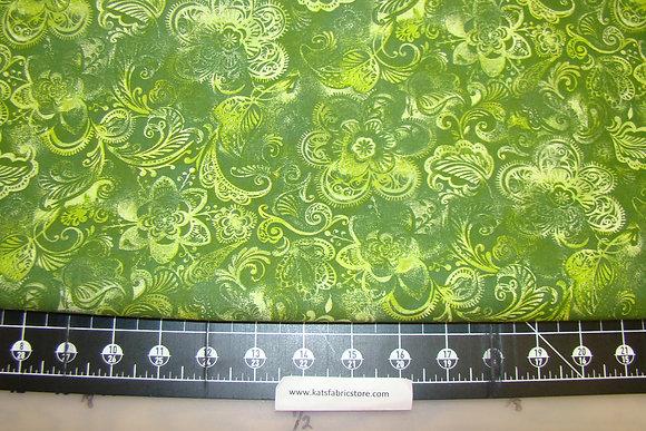 108in Batik Floral Dark Green