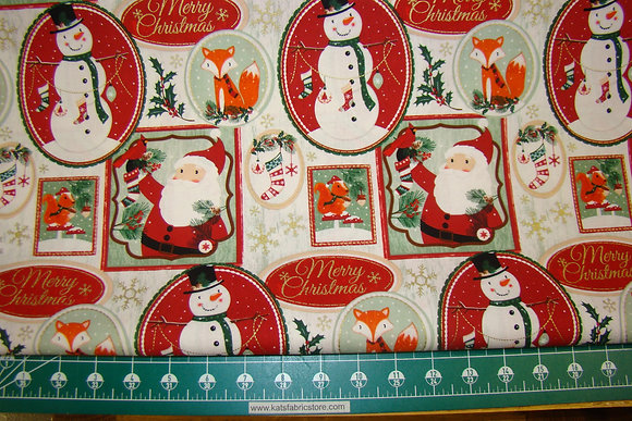 Holiday Print Fox and Snowman