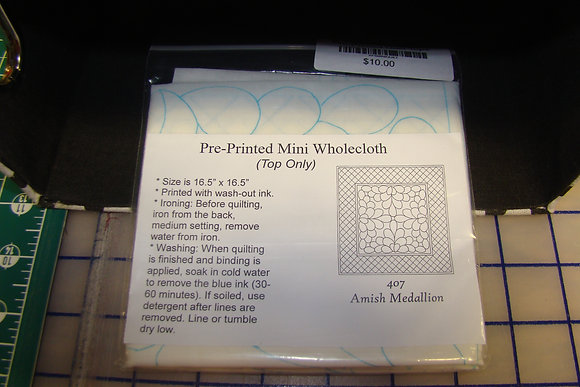 White Amish Medallion Pre-Printed Wholecloth