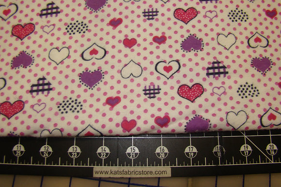 Flannel Hearts and Dots Pink