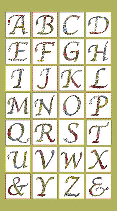 RB Penny Rose This & That Alphabet Panel P6747 Green