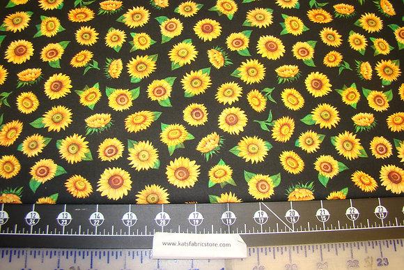 QT Always Face The Sunshine Tossed Sunflowers Black